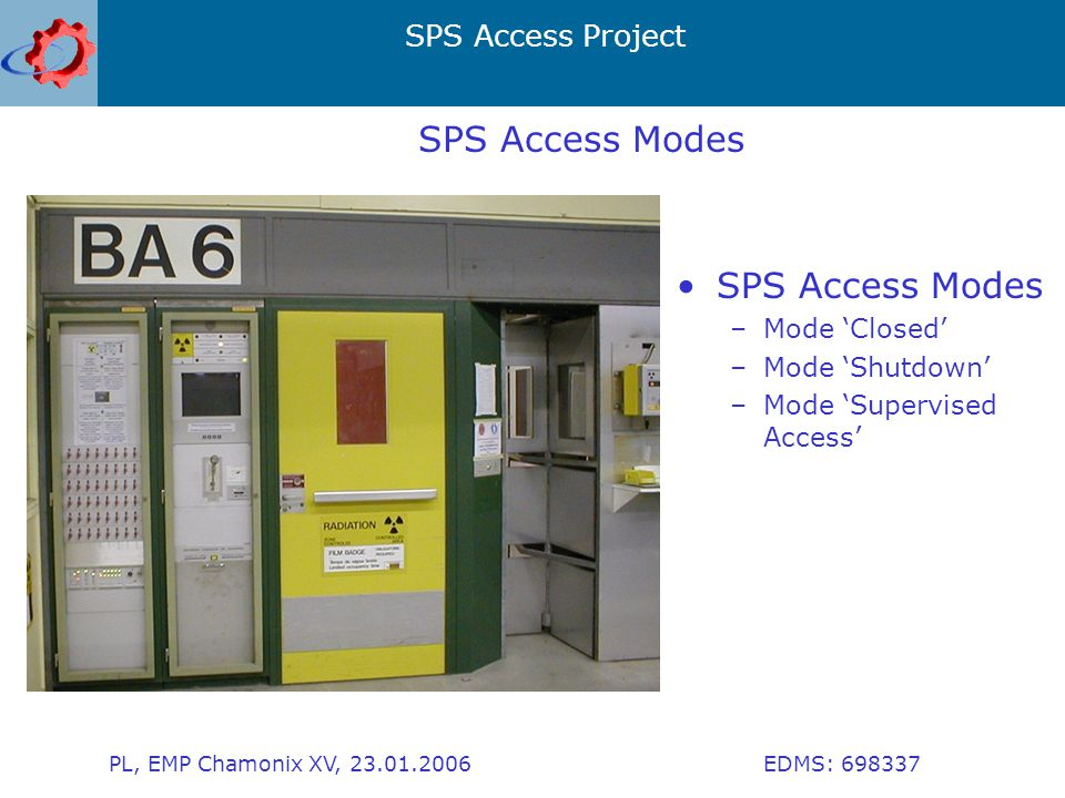 SPS Access Project PL, EMP Chamonix XV, 23.01.2006 EDMS: 698337 SPS Access Modes –Mode 'Closed' –Mode 'Shutdown' –Mode 'Supervised Access'