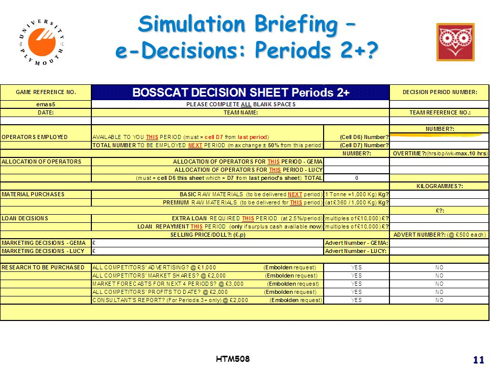 Simulation Briefing – e-Decisions: Periods 2+ HTM5081111