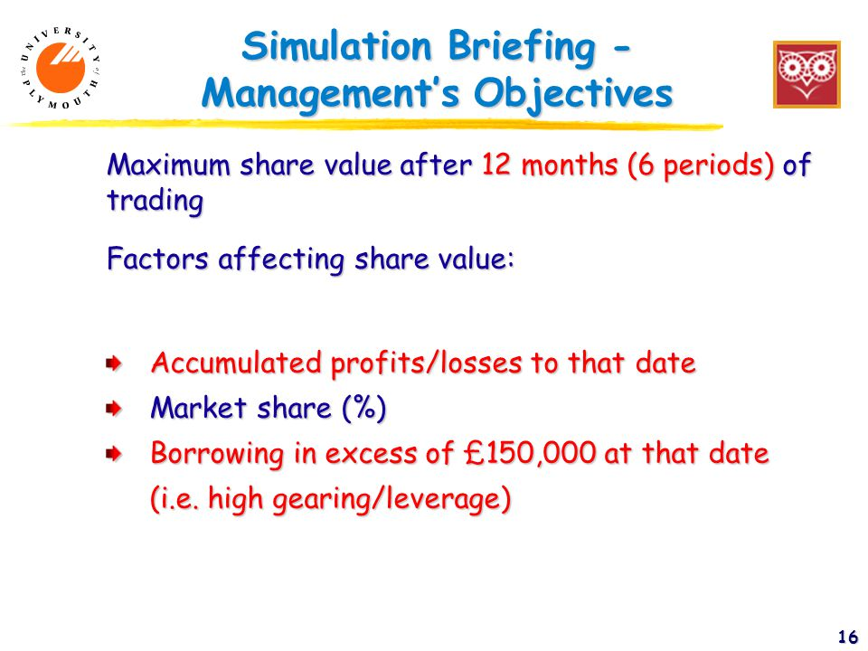 16 Simulation Briefing - Management's Objectives Maximum share value after 12 months (6 periods) of trading Factors affecting share value: Accumulated profits/losses to that date Market share (%) Borrowing in excess of £150,000 at that date (i.e.