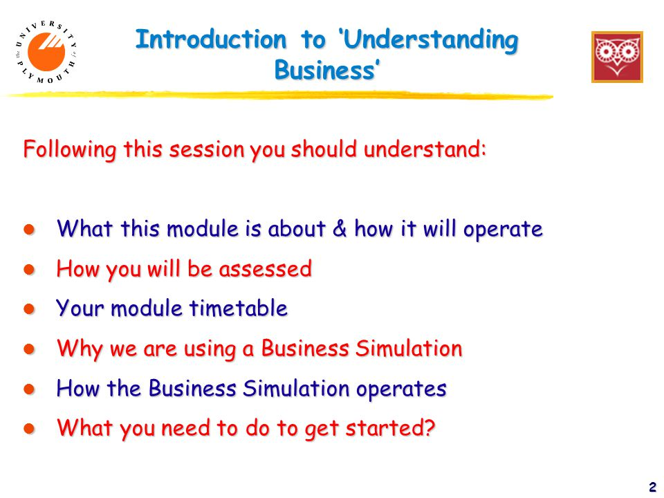 2 Introduction to 'Understanding Business' Following this session you should understand: l What this module is about & how it will operate l How you will be assessed l Your module timetable l Why we are using a Business Simulation l How the Business Simulation operates l What you need to do to get started
