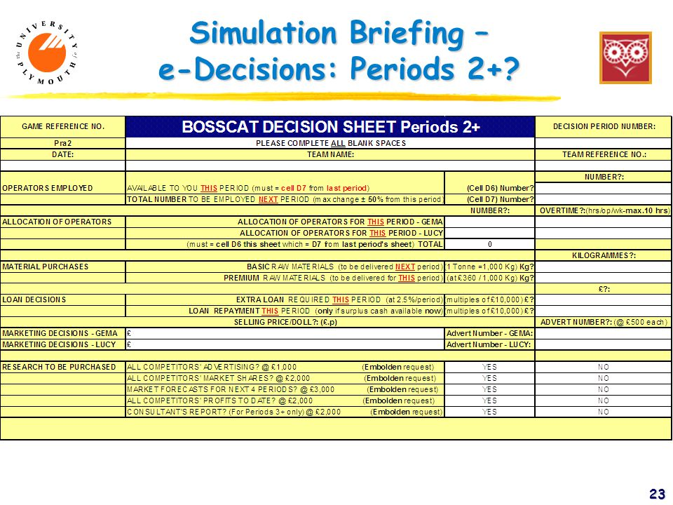Simulation Briefing – e-Decisions: Periods 2+ 23