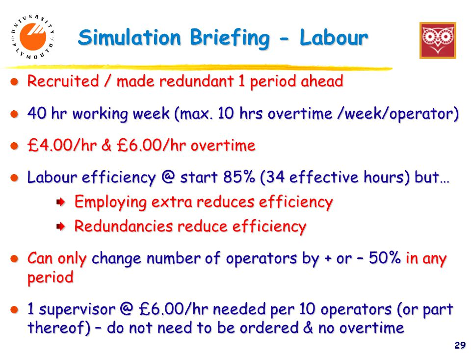 29 Simulation Briefing - Labour l Recruited / made redundant 1 period ahead l 40 hr working week (max.