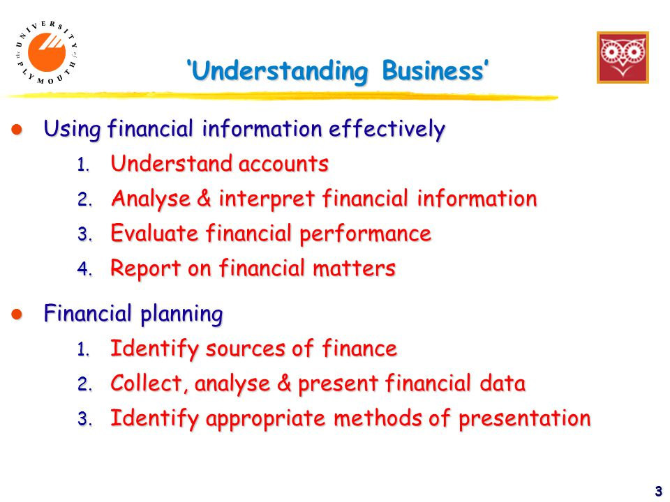 3 'Understanding Business' l Using financial information effectively 1.