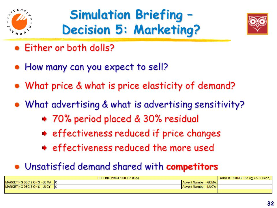 32 Simulation Briefing – Decision 5: Marketing. l Either or both dolls.
