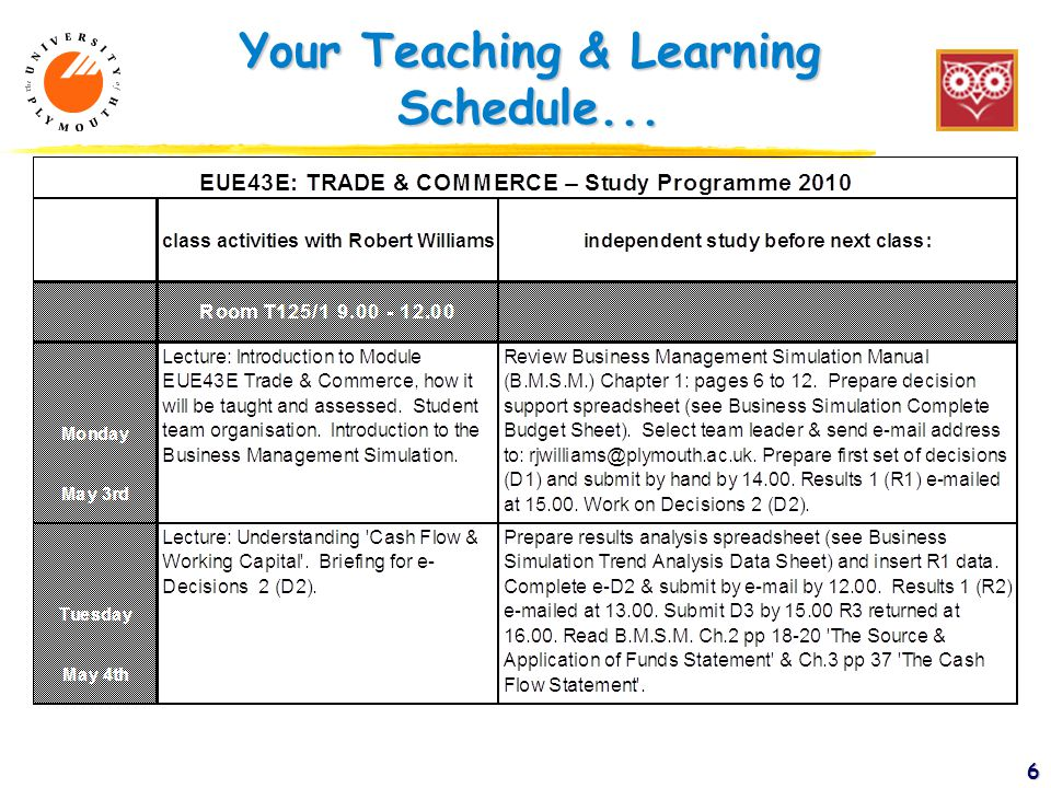 Your Teaching & Learning Schedule... 6