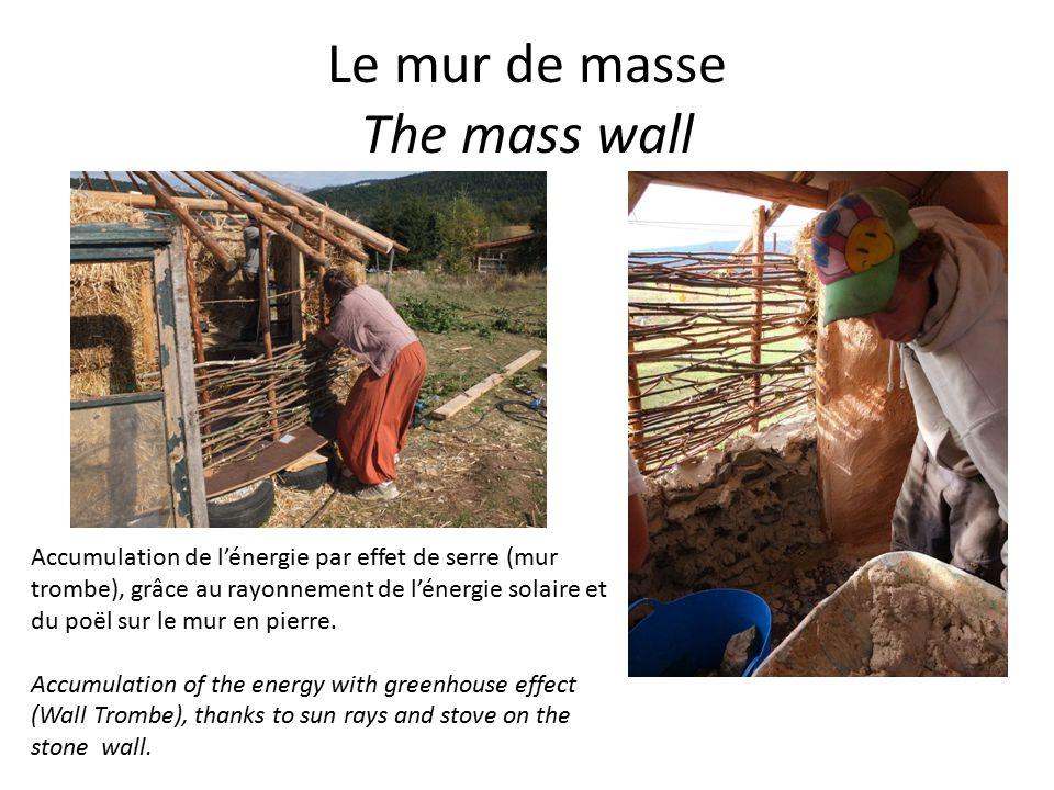 Le mur de masse The mass wall Accumulation de l'énergie par effet de serre (mur trombe), grâce au rayonnement de l'énergie solaire et du poël sur le mur en pierre.