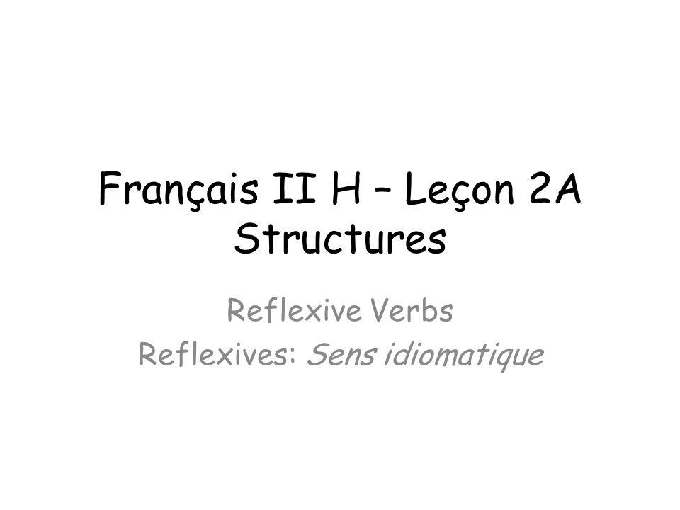Français II H – Leçon 2A Structures Reflexive Verbs Reflexives: Sens idiomatique