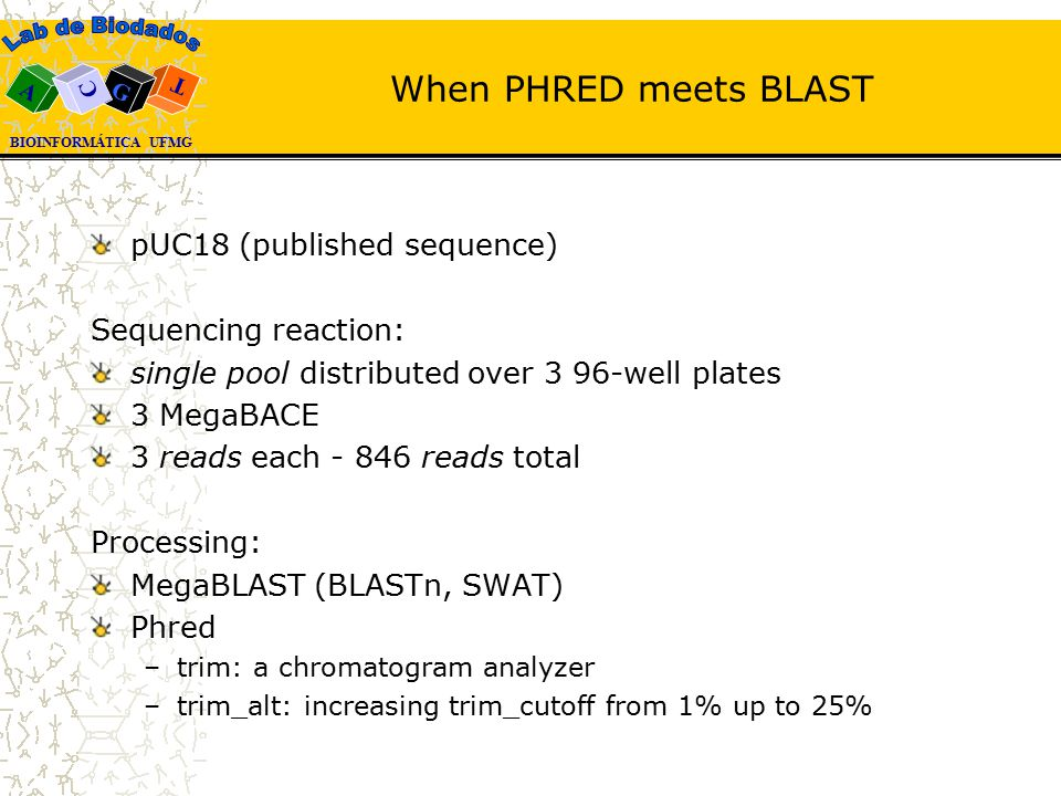 BIOINFORMÁTICA UFMG A T G C When PHRED meets BLAST pUC18 (published sequence) Sequencing reaction: single pool distributed over 3 96-well plates 3 MegaBACE 3 reads each - 846 reads total Processing: MegaBLAST (BLASTn, SWAT) Phred –trim: a chromatogram analyzer –trim_alt: increasing trim_cutoff from 1% up to 25%