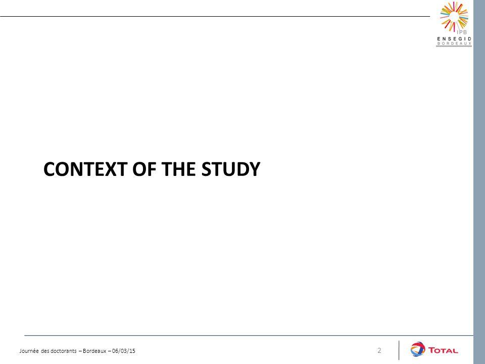 CONTEXT OF THE STUDY 2 Journée des doctorants – Bordeaux – 06/03/15