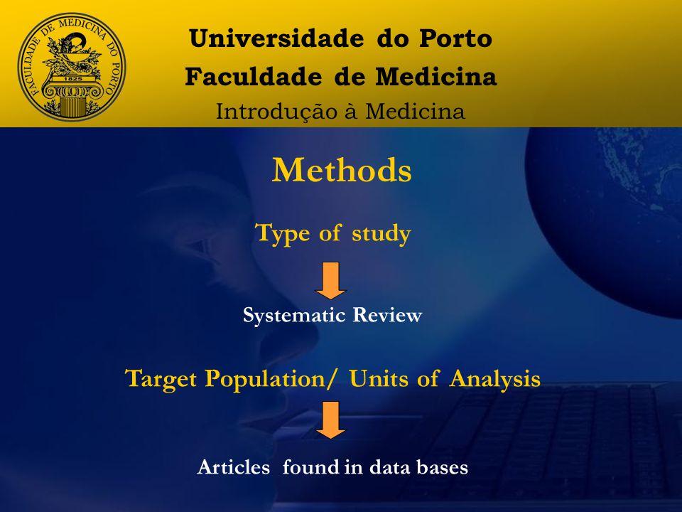 Methods Universidade do Porto Faculdade de Medicina Introdução à Medicina Type of study Systematic Review Target Population/ Units of Analysis Articles found in data bases