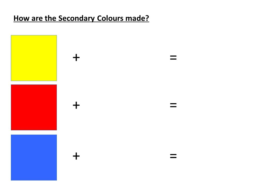 How are the Secondary Colours made + + + = = =