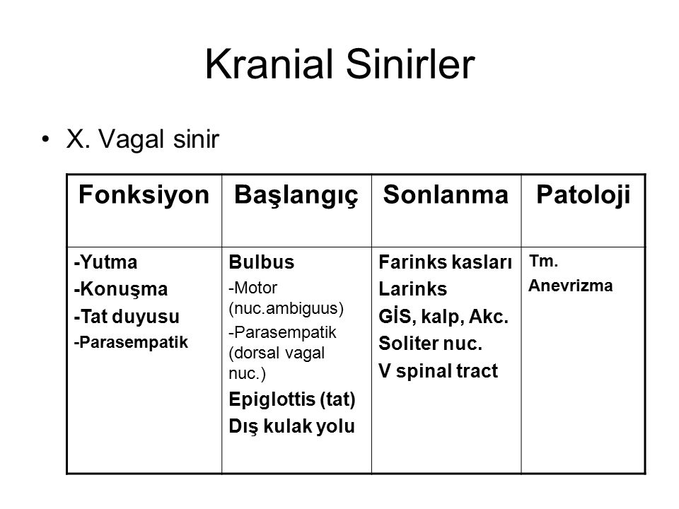 Kranial Sinirler X. Vagal sinir FonksiyonBaşlangıçSonlanmaPatoloji -Yutma -Konuşma -Tat duyusu -Parasempatik Bulbus -Motor (nuc.ambiguus) -Parasempati