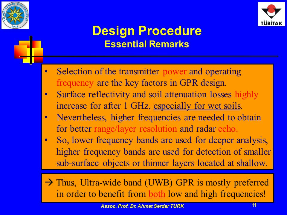 Assoc. Prof. Dr. Ahmet Serdar TURK 11 Design Procedure Essential Remarks Selection of the transmitter power and operating frequency are the key factor