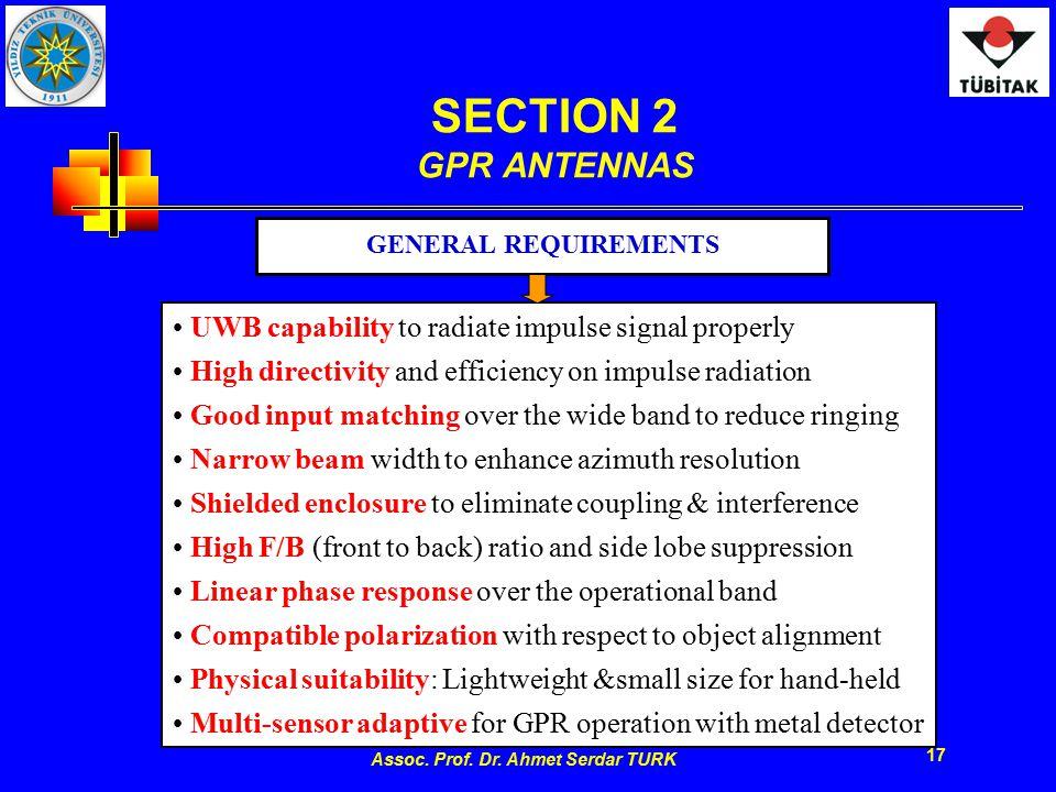 Assoc. Prof. Dr. Ahmet Serdar TURK 17 SECTION 2 GPR ANTENNAS UWB capability to radiate impulse signal properly High directivity and efficiency on impu