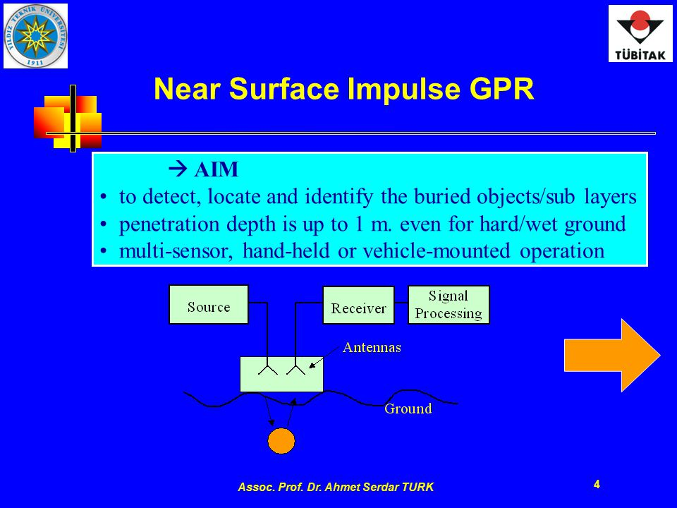 Assoc. Prof. Dr. Ahmet Serdar TURK 4 Near Surface Impulse GPR  AIM to detect, locate and identify the buried objects/sub layers penetration depth is