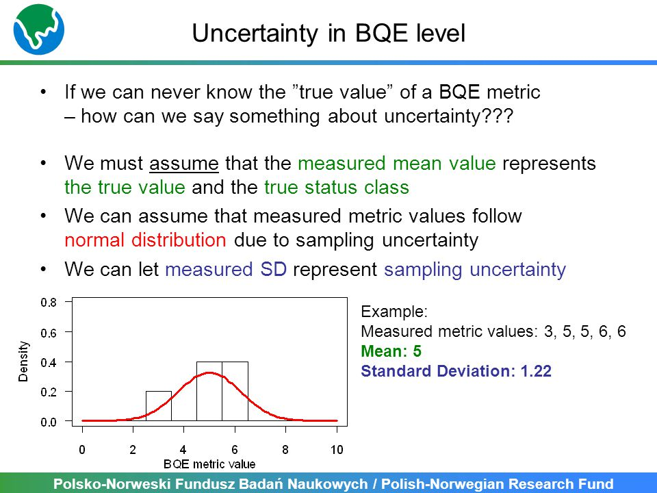 Polsko-Norweski Fundusz Badań Naukowych / Polish-Norwegian Research Fund Uncertainty in BQE level If we can never know the true value of a BQE metric – how can we say something about uncertainty .