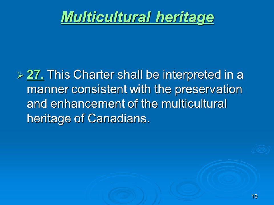 10 Multicultural heritage Multicultural heritage  27.