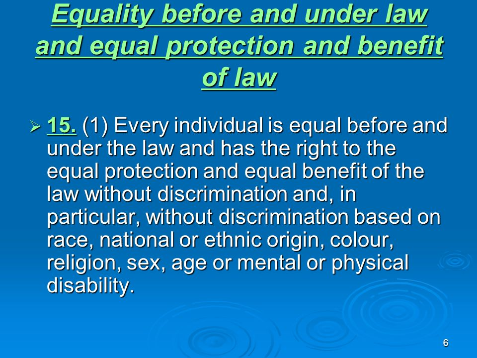 6 Equality before and under law and equal protection and benefit of law Equality before and under law and equal protection and benefit of law  15.