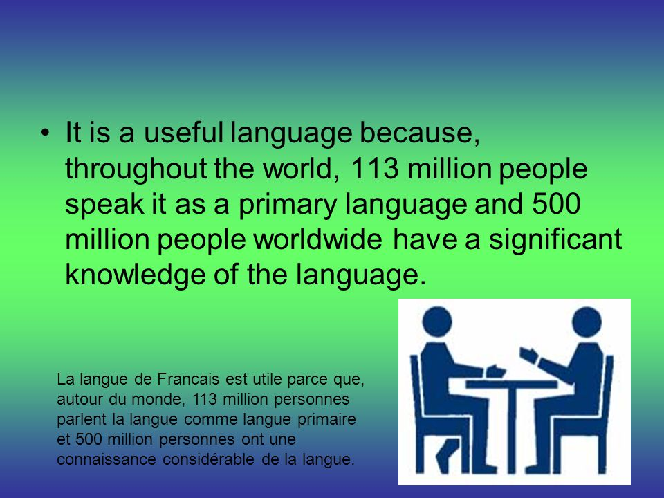 It is a useful language because, throughout the world, 113 million people speak it as a primary language and 500 million people worldwide have a signi