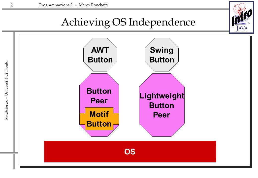 2 Fac.Scienze – Università di Trento Programmazione 2 - Marco Ronchetti Achieving OS Independence AWT Button Lightweight Button Peer Button Peer Motif