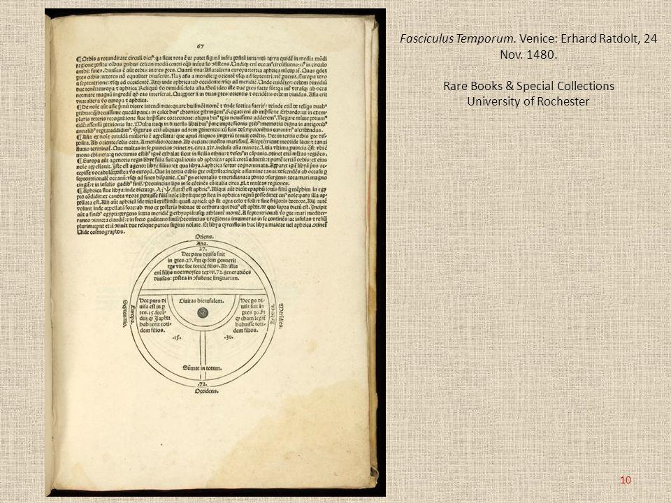 Fasciculus Temporum. Venice: Erhard Ratdolt, 24 Nov. 1480. Rare Books & Special Collections University of Rochester 10