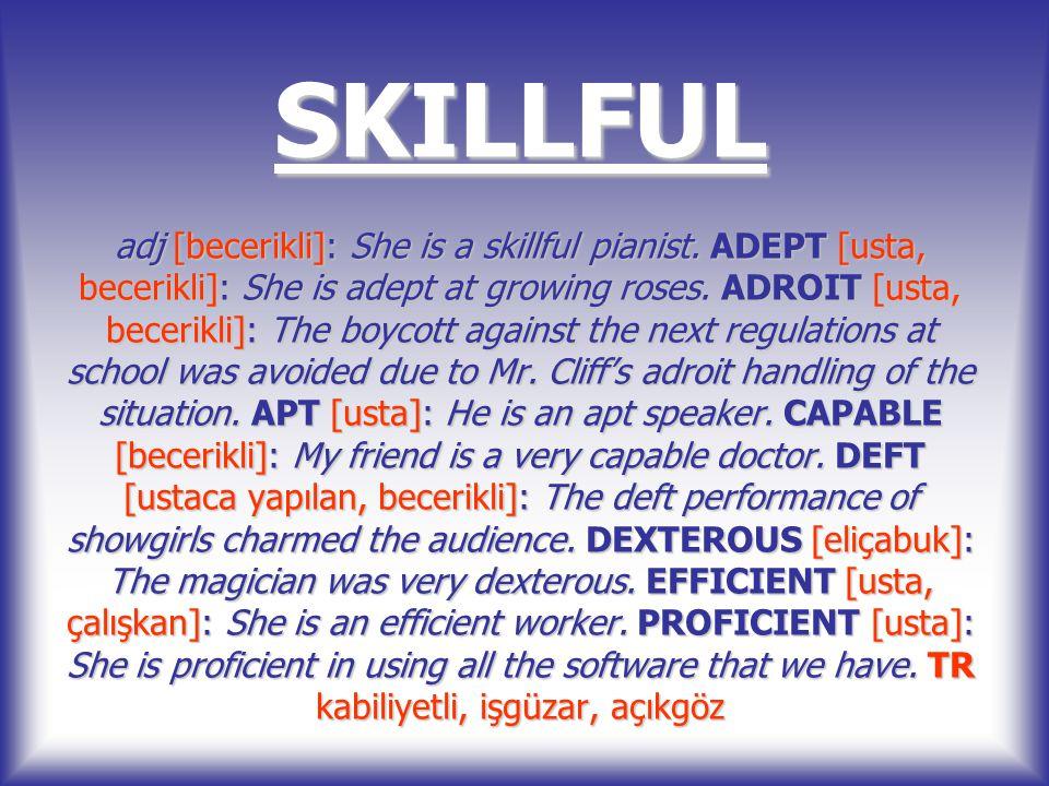 SKILLFUL adj [becerikli]: She is a skillful pianist. ADEPT [usta, becerikli]: She is adept at growing roses. ADROIT [usta, becerikli]: The boycott aga