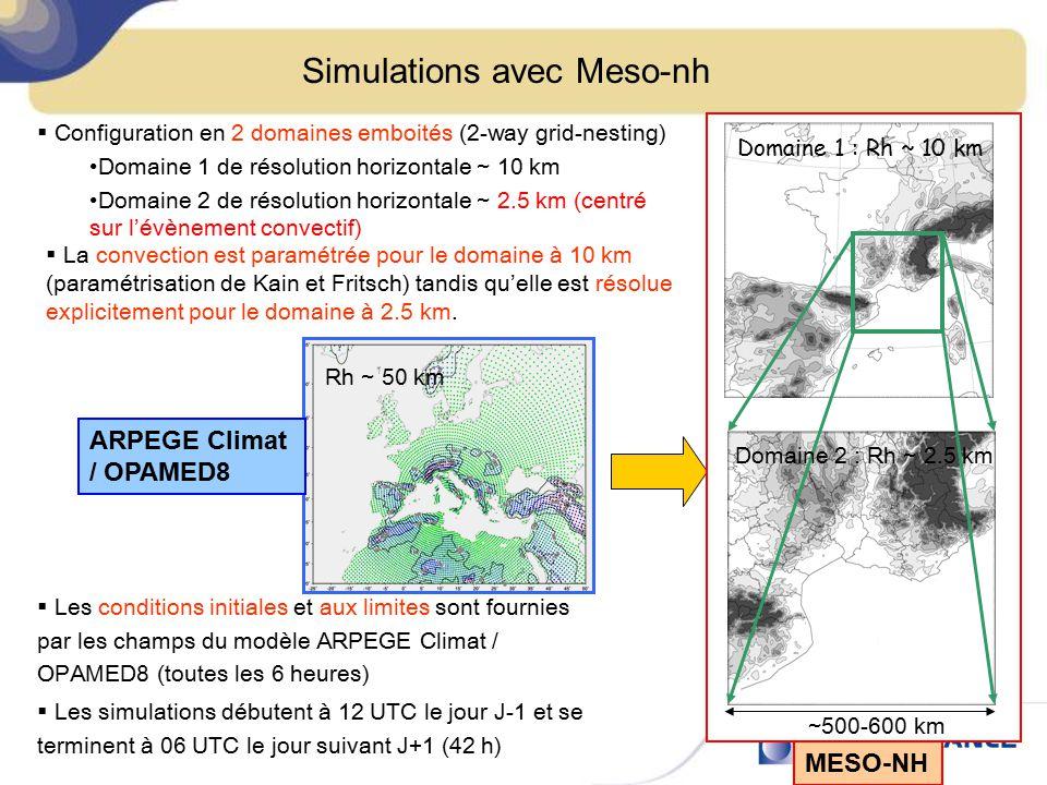 Simulations avec Meso-nh  Configuration en 2 domaines emboités (2-way grid-nesting) Domaine 1 de résolution horizontale ~ 10 km Domaine 2 de résoluti