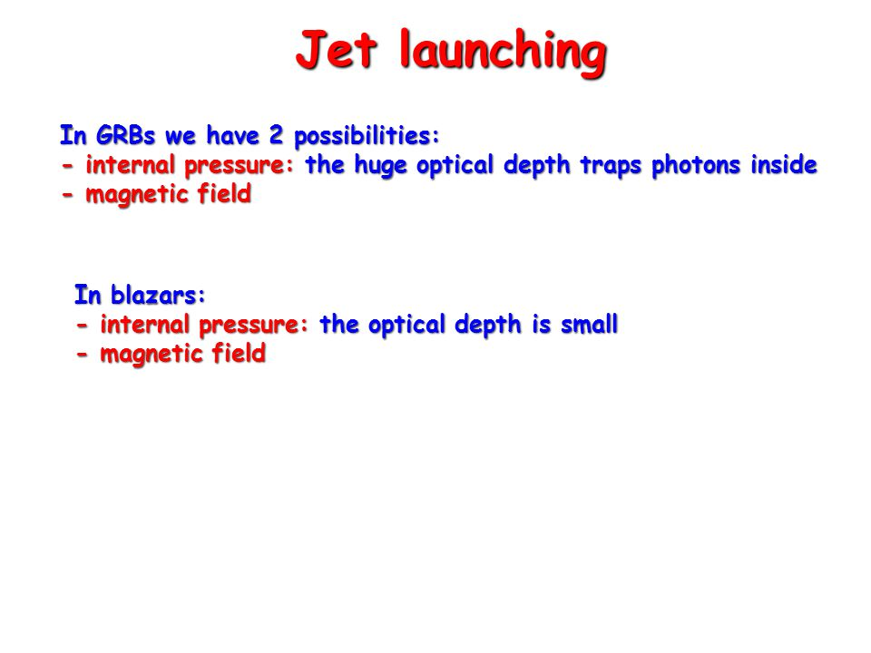 Jet launching In GRBs we have 2 possibilities: - internal pressure: the huge optical depth traps photons inside - magnetic field In blazars: - internal pressure: the optical depth is small - magnetic field