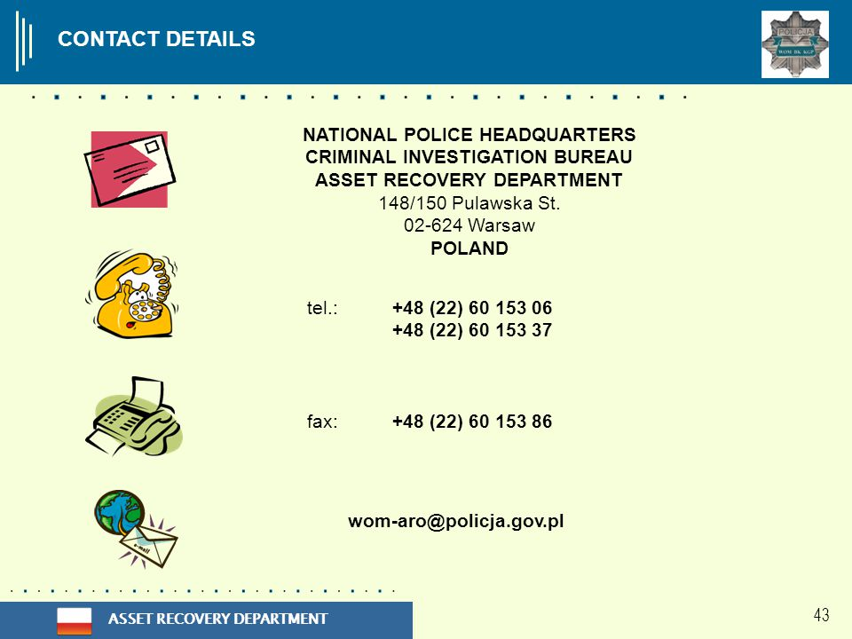 ASSET RECOVERY DEPARTMENT CONTACT DETAILS NATIONAL POLICE HEADQUARTERS CRIMINAL INVESTIGATION BUREAU ASSET RECOVERY DEPARTMENT 148/150 Pulawska St.