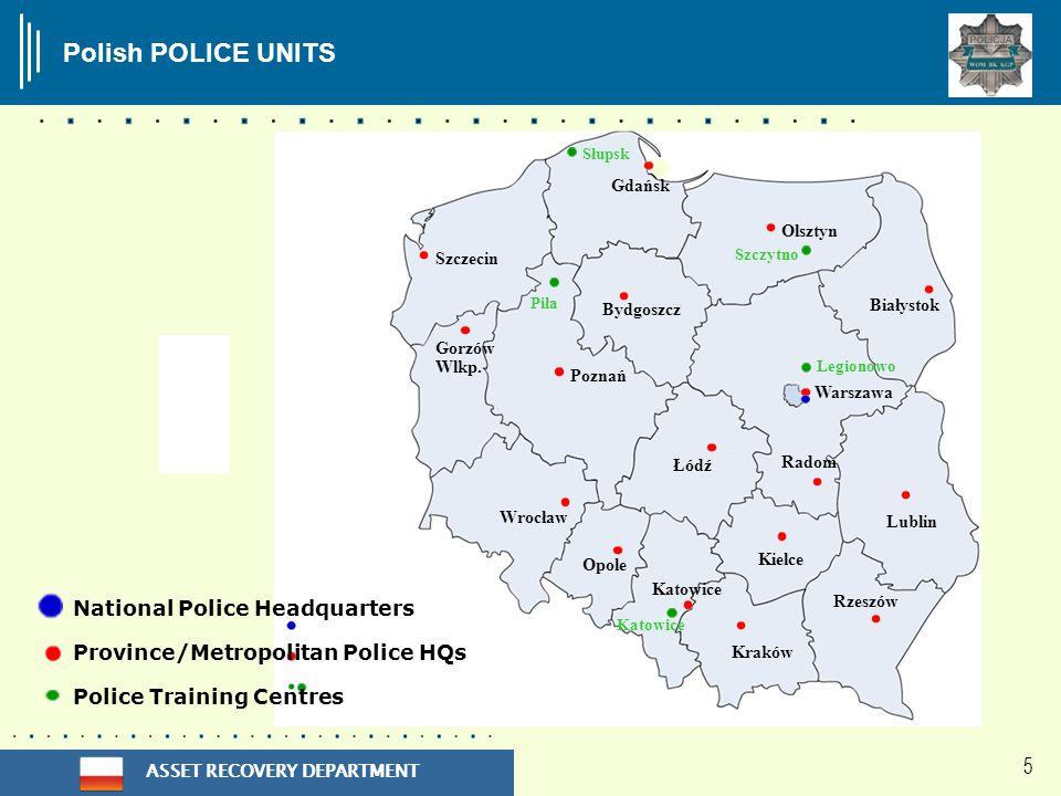 ASSET RECOVERY DEPARTMENT 5 Polish POLICE UNITS Gdańsk Szczecin Poznań Łódź Bydgoszcz Olsztyn Białystok Warszawa Lublin Radom Kielce Katowice Opole Wrocław Gorzów Wlkp.