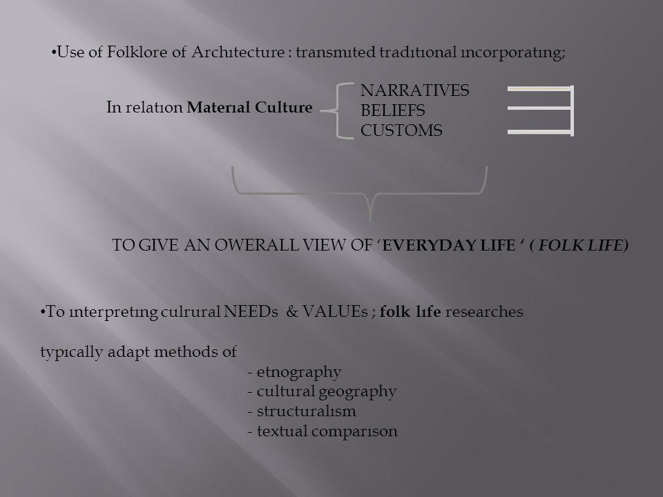 Use of Folklore of Archıtecture : transmıted tradıtıonal ıncorporatıng; NARRATIVES BELIEFS CUSTOMS In relatıon Materıal Culture TO GIVE AN OWERALL VIE