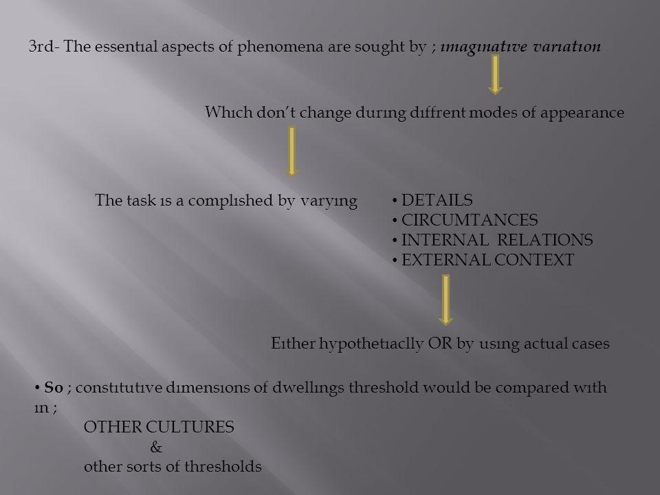 3rd- The essentıal aspects of phenomena are sought by ; ımagınatıve varıatıon Whıch don't change durıng dıffrent modes of appearance The task ıs a com