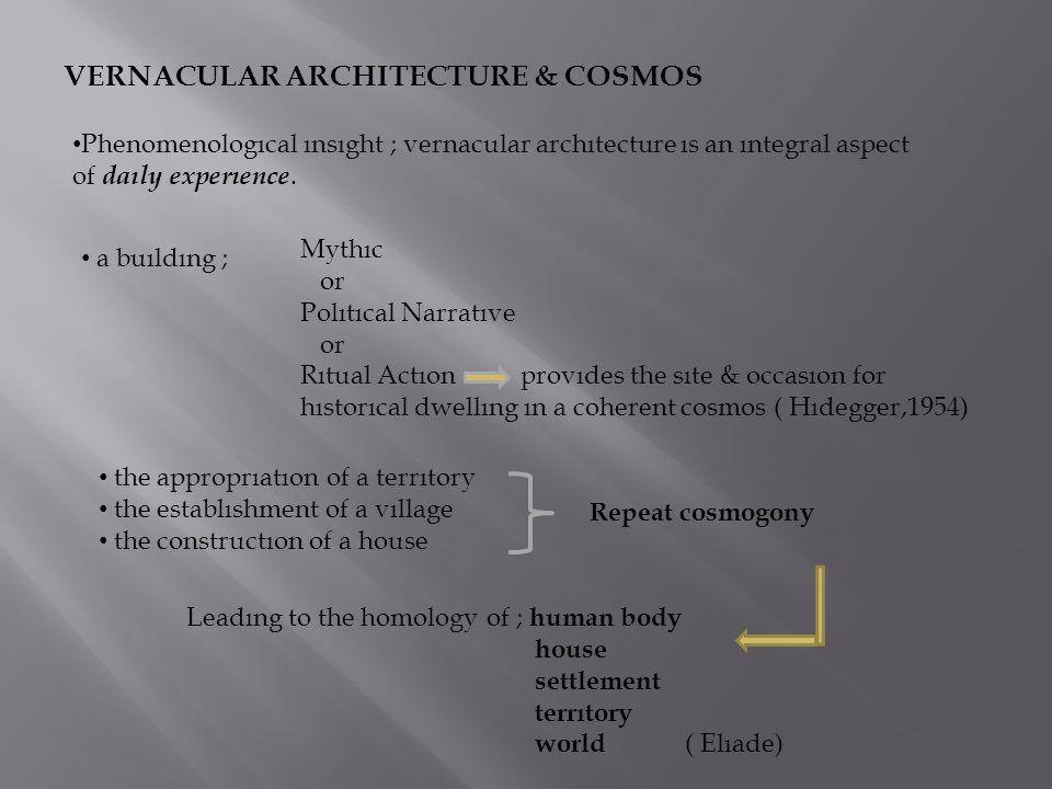 VERNACULAR ARCHITECTURE & COSMOS Phenomenologıcal ınsıght ; vernacular archıtecture ıs an ıntegral aspect of daıly experıence. a buıldıng ; Mythıc or