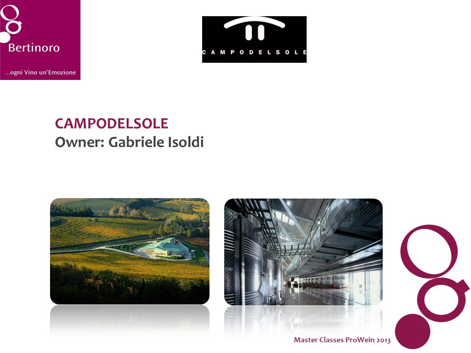 CAMPODELSOLE Owner: Gabriele Isoldi Master Classes ProWein 2013