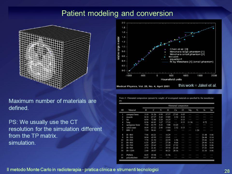 Il metodo Monte Carlo in radioterapia - pratica clinica e strumenti tecnologici 28 Patient modeling and conversion this work = Jäkel et al.