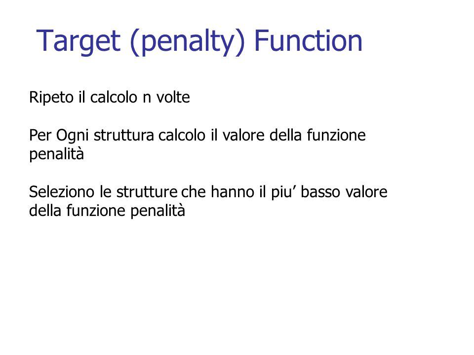 Target (penalty) Function Ripeto il calcolo n volte Per Ogni struttura calcolo il valore della funzione penalità Seleziono le strutture che hanno il piu' basso valore della funzione penalità