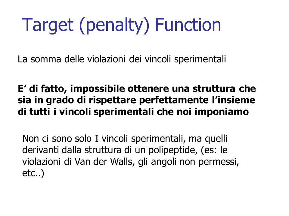Target (penalty) Function La somma delle violazioni dei vincoli sperimentali E' di fatto, impossibile ottenere una struttura che sia in grado di rispettare perfettamente l'insieme di tutti i vincoli sperimentali che noi imponiamo Non ci sono solo I vincoli sperimentali, ma quelli derivanti dalla struttura di un polipeptide, (es: le violazioni di Van der Walls, gli angoli non permessi, etc..)