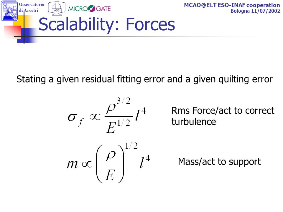 Osservatorio di Arcetri MCAO@ELT ESO-INAF cooperation Bologna 11/07/2002 Scalability: Forces Rms Force/act to correct turbulence Mass/act to support Stating a given residual fitting error and a given quilting error