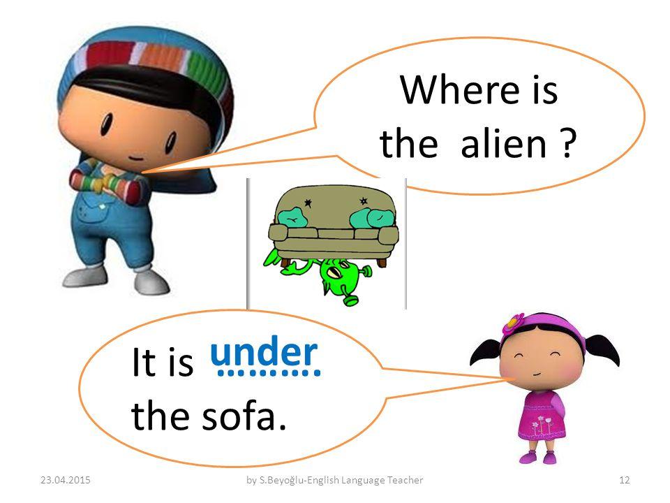 Where is the alien It is ………. the sofa. under 23.04.2015by S.Beyoğlu-English Language Teacher12