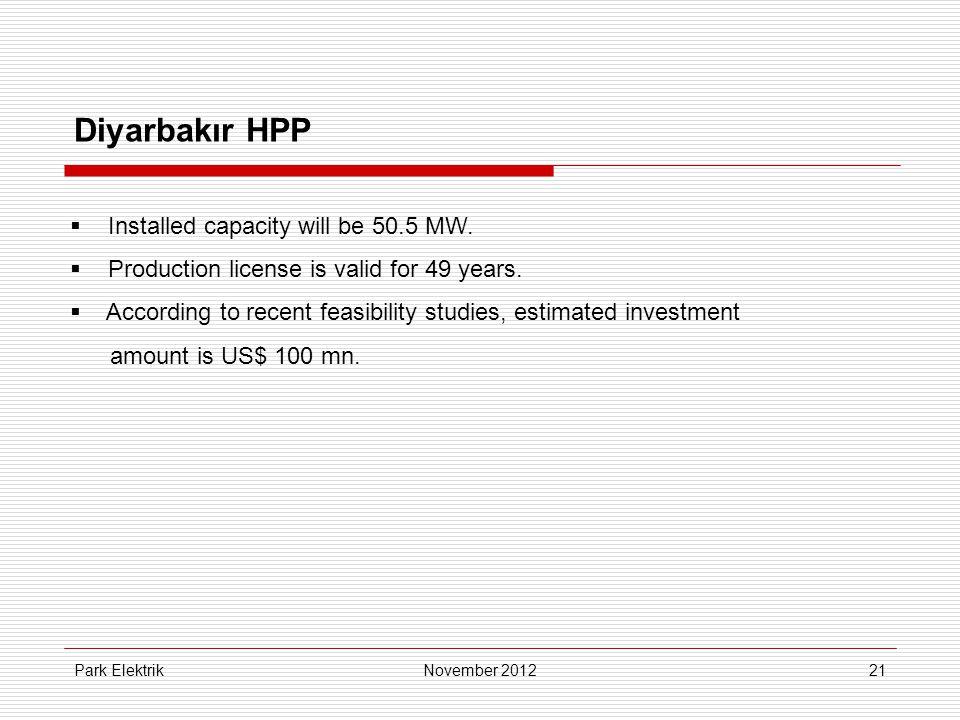 Park Elektrik21 Diyarbakır HPP  Installed capacity will be 50.5 MW.