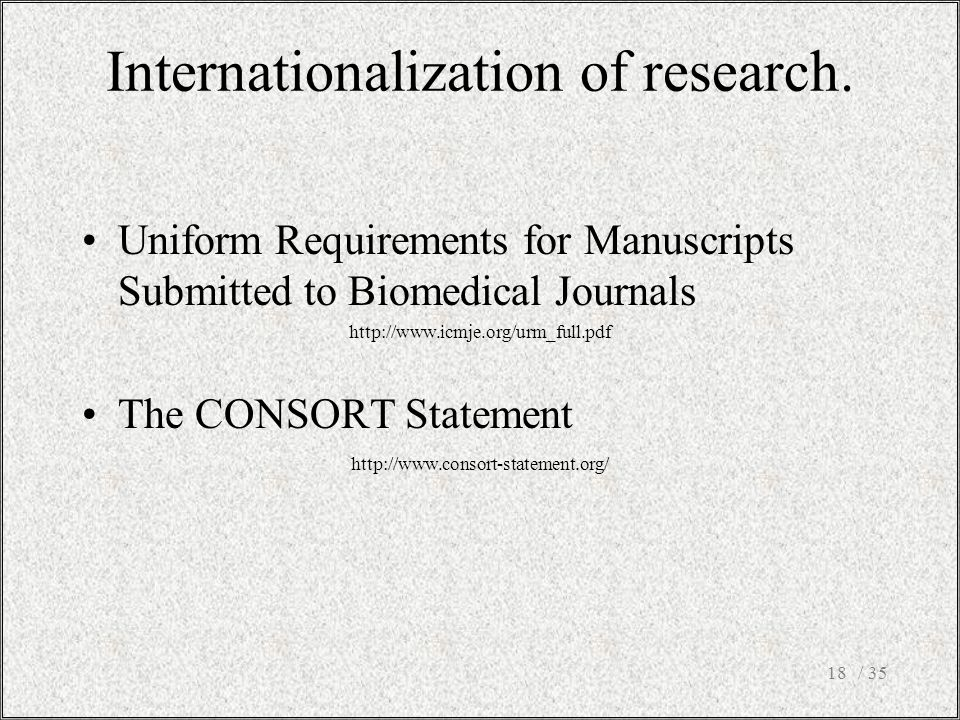 Internationalization of research.