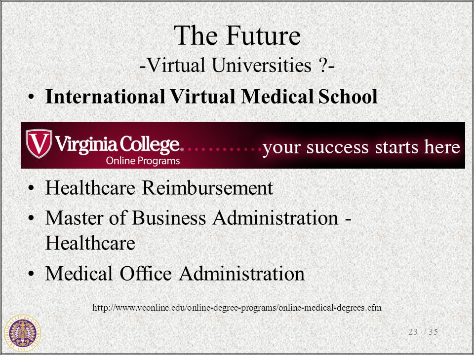 The Future -Virtual Universities - International Virtual Medical School Health Services Management Healthcare Reimbursement Master of Business Administration - Healthcare Medical Office Administration / 3523 http://www.vconline.edu/online-degree-programs/online-medical-degrees.cfm