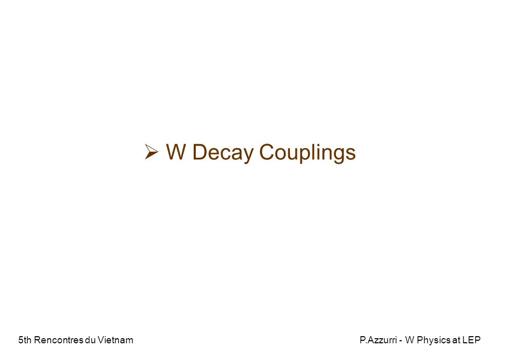 5th Rencontres du VietnamP.Azzurri - W Physics at LEP  W Decay Couplings