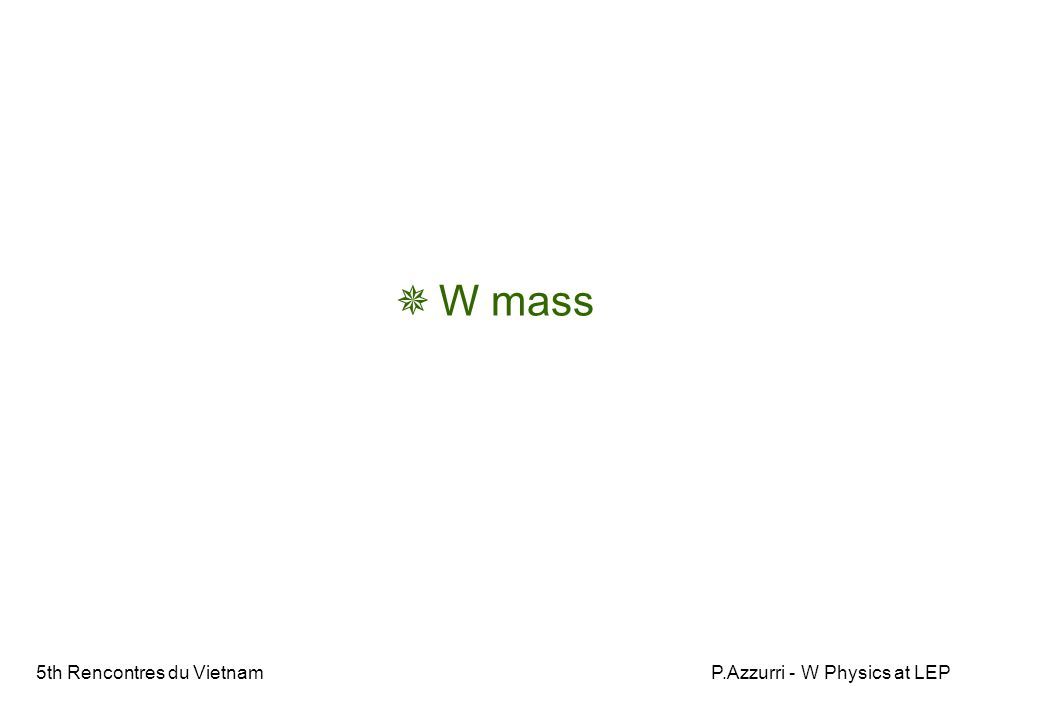 5th Rencontres du VietnamP.Azzurri - W Physics at LEP  W mass
