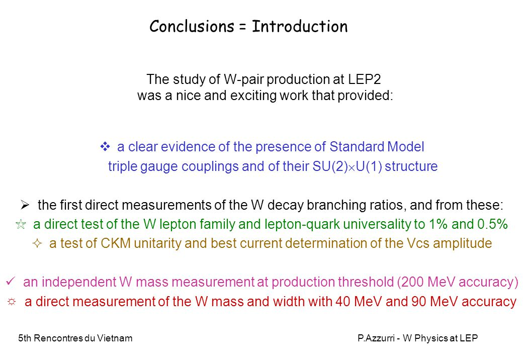 5th Rencontres du VietnamP.Azzurri - W Physics at LEP Conclusions = Introduction  a clear evidence of the presence of Standard Model triple gauge cou