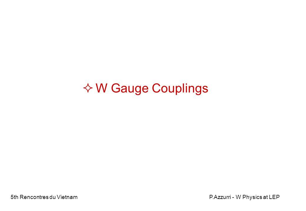 5th Rencontres du VietnamP.Azzurri - W Physics at LEP Triple Gauge Couplings Standard electroweak theory U(1) SU(2) triple and quartic SU(2) gauge boson self couplings The signature of the non-abelian SU(2) electroweak structure !