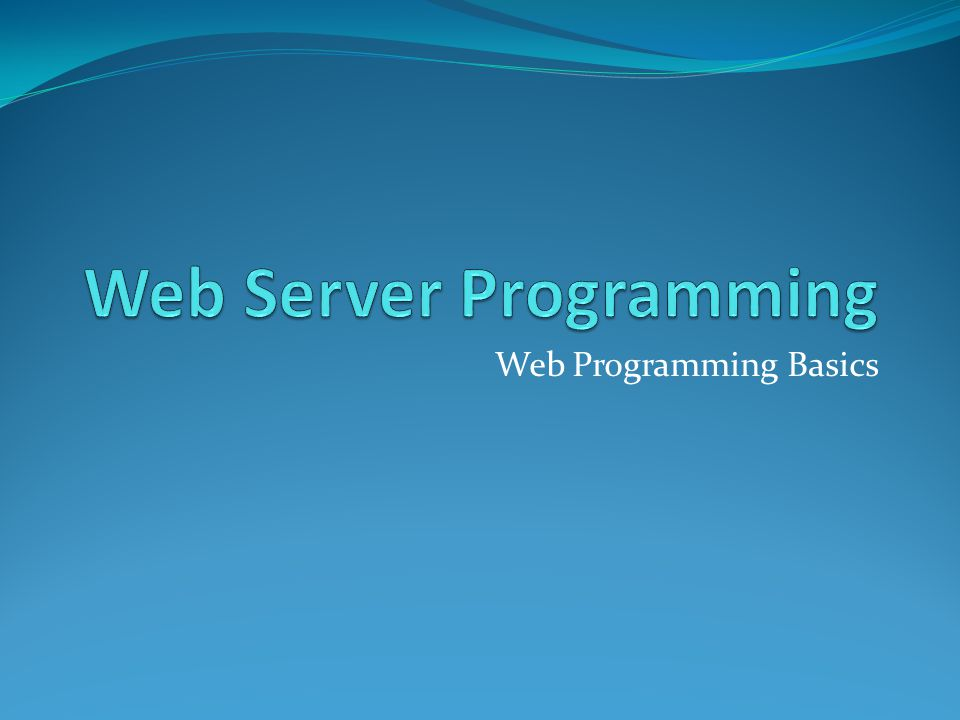 Web Programming Basics