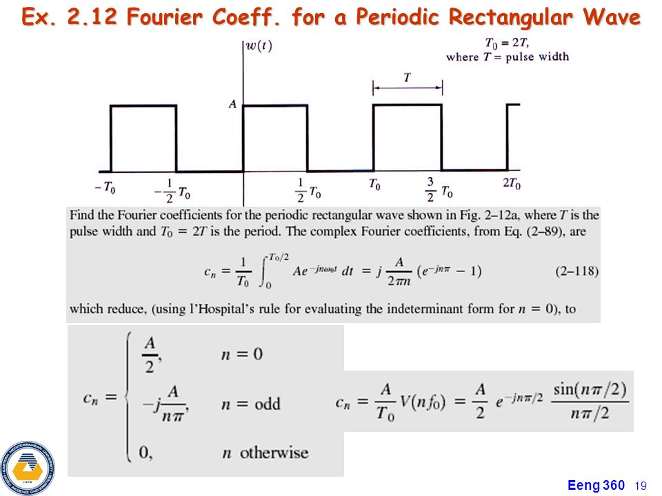 Eeng 360 19 Ex. 2.12 Fourier Coeff. for a Periodic Rectangular Wave