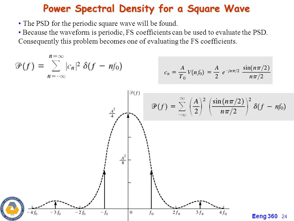 Eeng 360 24 Power Spectral Density for a Square Wave The PSD for the periodic square wave will be found.