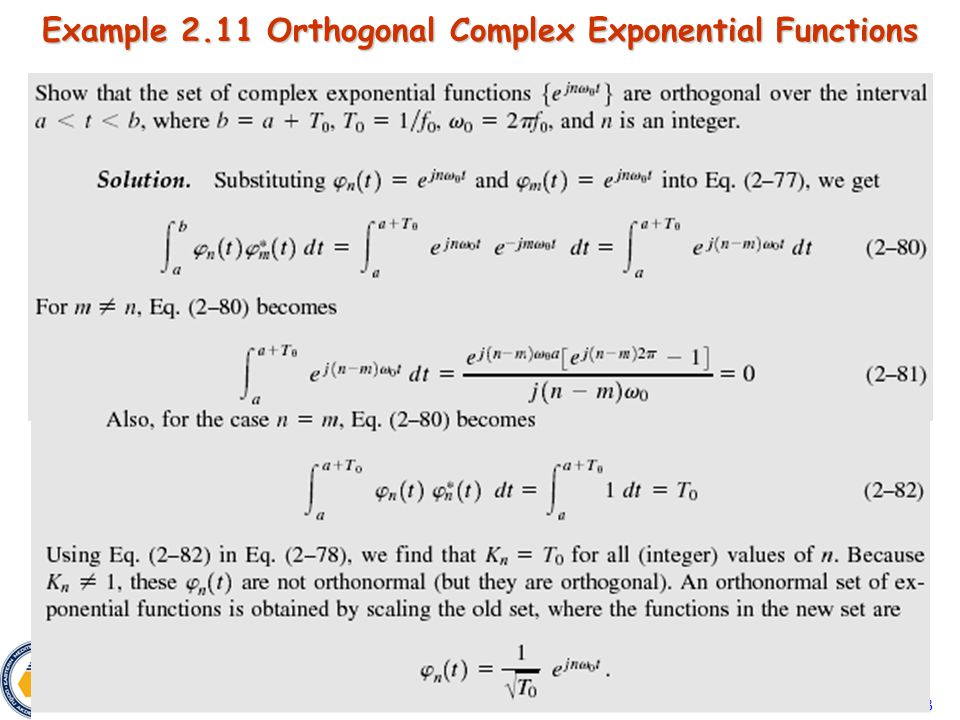 Eeng 360 3 Example 2.11 Orthogonal Complex Exponential Functions